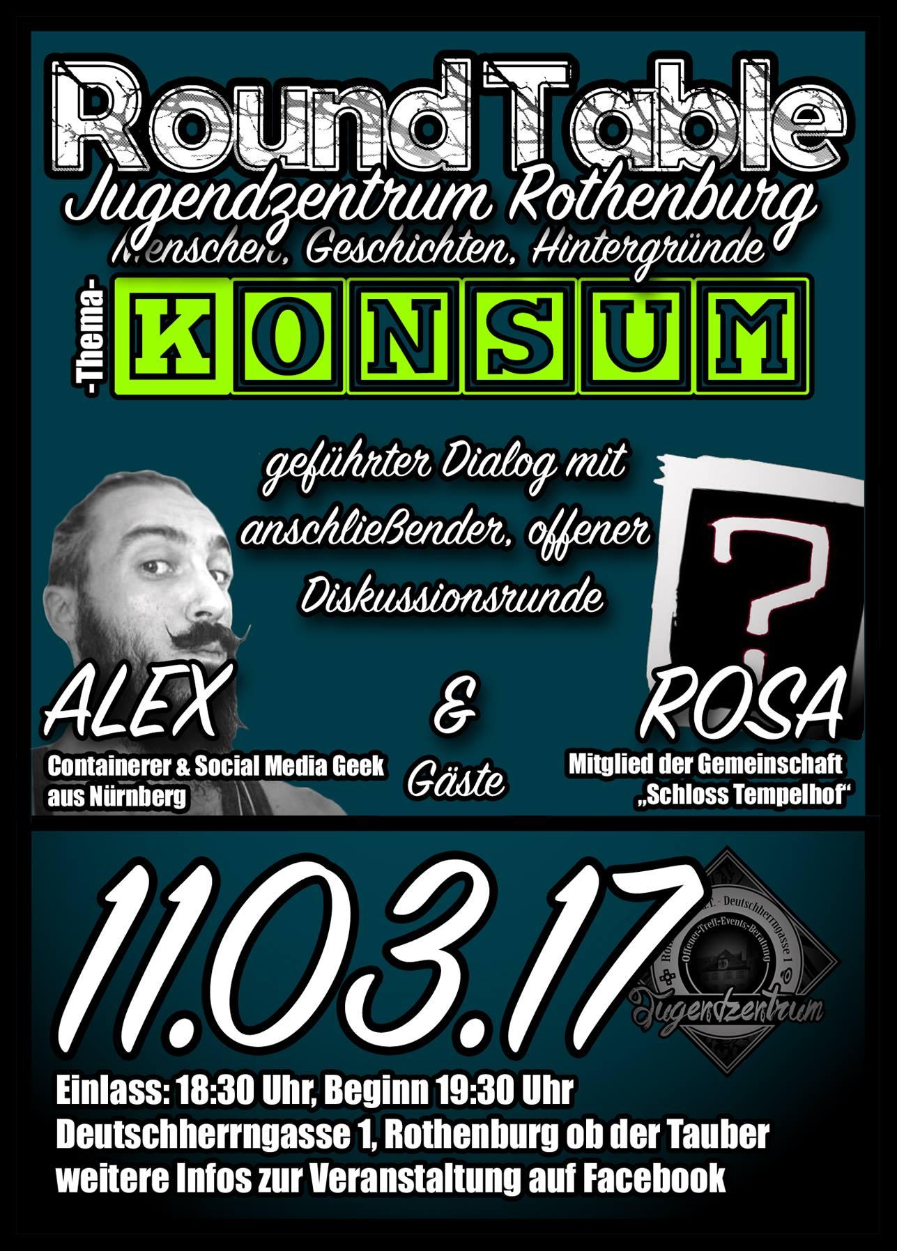 Dies ist der Flyer zur Diskussionsrunde im Jugendzentrum Rothenburg ob der Tauber in dem das Thema Konsum behandelt wird.